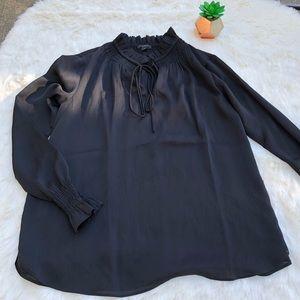Ann Taylor Petite Black Long Sleeve Blouse